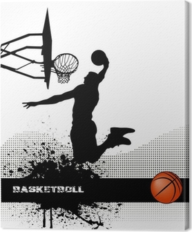 basketball match on grunge background Canvas Print
