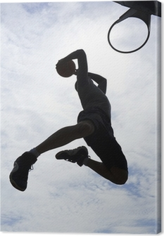 Basketball Player Slam Dunk Silhouette Canvas Print