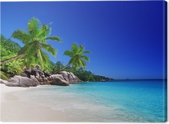 beach at Praslin island, Seychelles Canvas Print