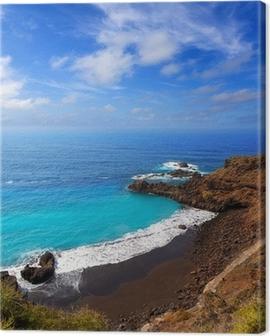 Beach el Bollullo black brown sand and aqua water Canvas Print
