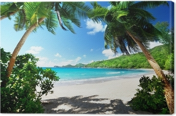 beach, Mahe island, Seychelles Canvas Print