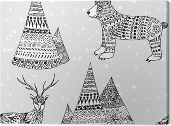 bear, deer and mountain hand drawn winter pattern Canvas Print