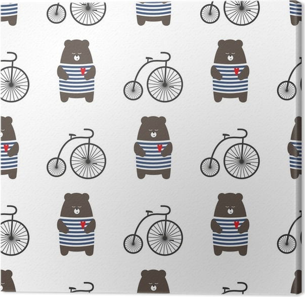 Bear With Vintage Bicycle Seamless Pattern Cute Cartoon Teddy Vector Illustration Child Drawing Style Animal Bike Background