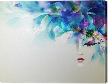 Beautiful abstract women with abstract design elements Canvas Print