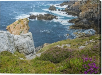 beautiful coastal cliffs in Brittany France Canvas Print
