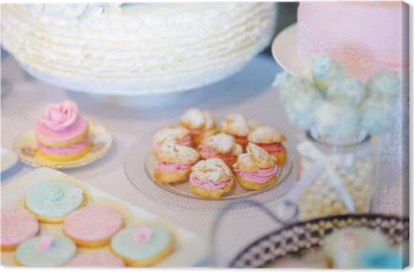 Beautiful Desserts Sweets And Candy Table At Wedding Reception Canvas Print