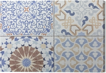 Beautiful old ceramic tile wall patterns in the park public. Canvas Print