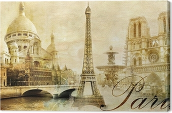 beautiful Paris - vintage post card Canvas Print