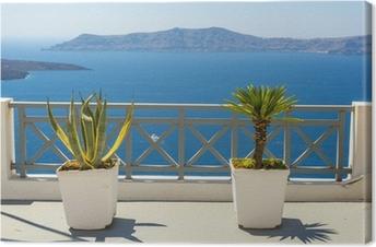 Beautiful Sea View From Fira In Santorini, Greece Canvas Print