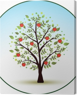 Beautiful vector apple tree Canvas Print