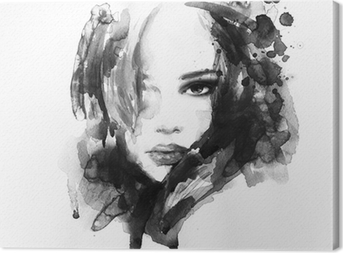 Beautiful woman face. watercolor illustration Canvas Print
