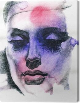 Beautiful woman. Hand painted fashion illustration Canvas Print