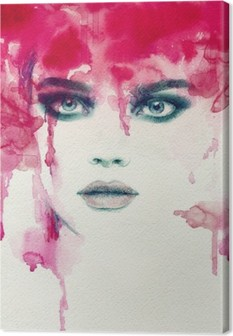 Beautiful woman. watercolor illustration Canvas Print