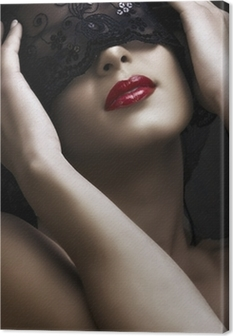 beautiful woman with mask Canvas Print