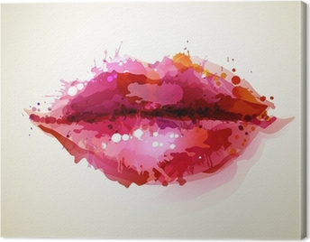 Beautiful womans lips formed by abstract blots Canvas Print