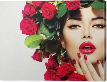Beauty Fashion Model Girl Portrait with Red Roses Hairstyle Canvas Print