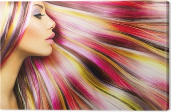 Beauty Fashion Model Girl with Colorful Dyed Hair Canvas Print