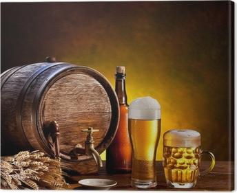 Beer barrel with beer glasses on a wooden table. Canvas Print