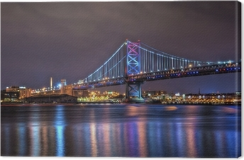Benjamin Franklin Bridge at Night Canvas Print