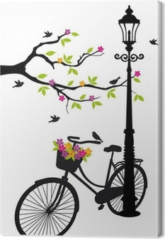 bicycle with lamp, flowers and tree, vector Canvas Print