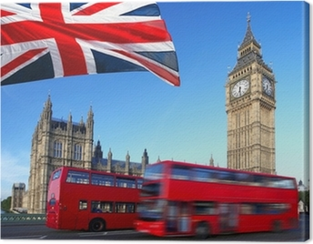 Big Ben with city bus and flag of England, London Canvas Print