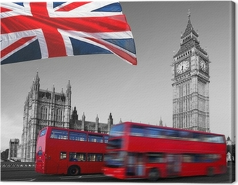 Big Ben with city buses and flag of England, London Canvas Print