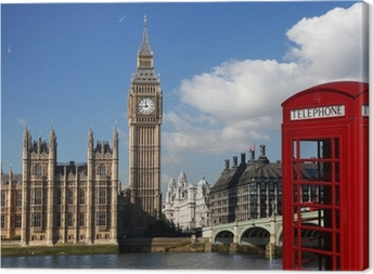 Big Ben with red telephone box in London, England Canvas Print