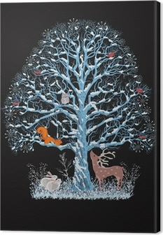 Big blue tree with different animals on black background Canvas Print