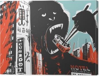 Big Gorilla destroys City Canvas Print