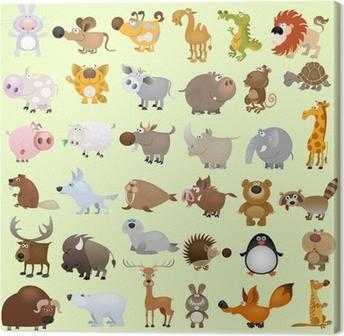 Big vector cartoon animal set Canvas Print