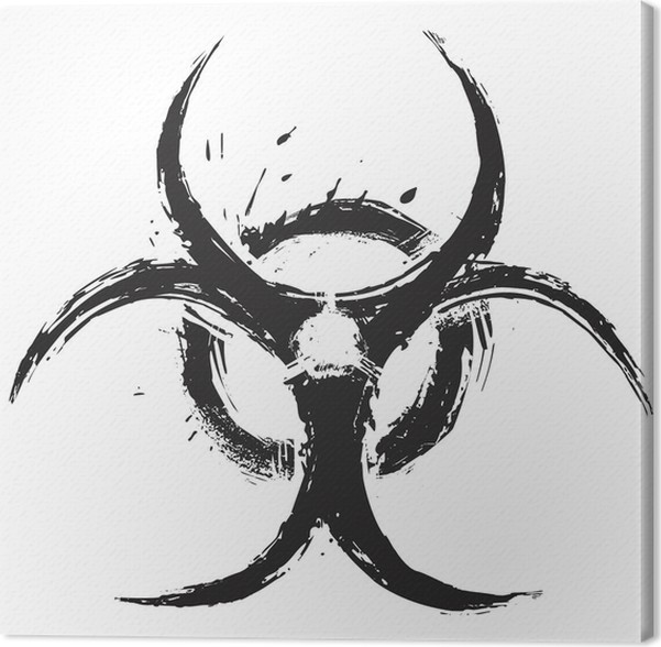 Biohazard Symbol On White Created In Grunge Style Canvas Print