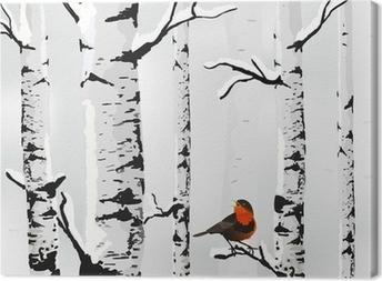 Birch in snow, winter card in vector Canvas Print