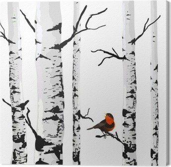 Bird of birches, vector drawing with editable elements. Canvas Print