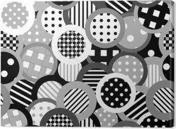 Black and white background with circles Canvas Print