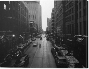 Black and White Chicago Streets Canvas Print