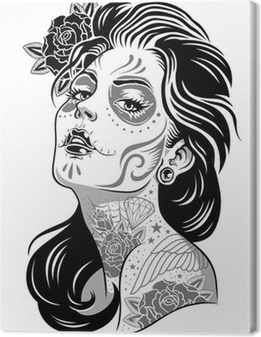 Black and White Day of Dead Girl Vector Illustration Canvas Print