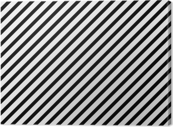 Black and White Diagonal Striped Pattern Repeat Background Canvas Print