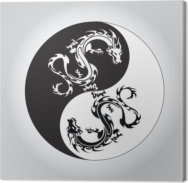Black And White Dragon In Yin Yang Symbol Canvas Print Pixers