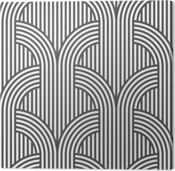Black and white geometric striped seamless pattern - variation 5 Canvas Print