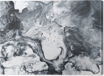 Black and white marble abstract hand painted background Canvas Print