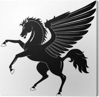 Black Pegasus on white background Canvas Print
