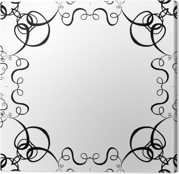 black & white scroll frame background Canvas Print • Pixers® • We ...