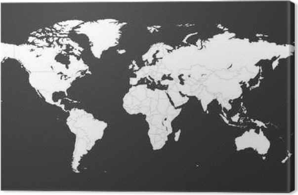 Blank white political world map isolated on black background worldmap vector template for website infographics design flat earth world map illustration canvas print publicscrutiny Images