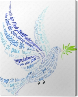 """Blue Dove with the word """"peace"""" in all languages Canvas Print"""