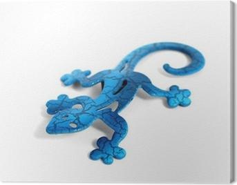 Blue metal lizard Canvas Print