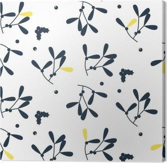 Blue mistletoe silhouette seamless vector pattern. Foliage pattern in scandinavian design style. Canvas Print