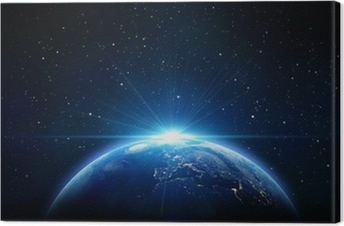 blue sunrise, view of earth from space Canvas Print