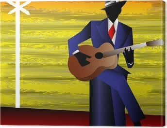 Blues Guitarist at the Crossroads, Vector Background for a Conce Canvas Print