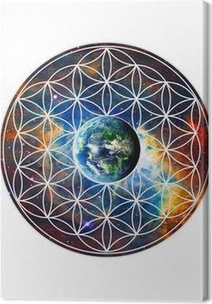 Blume des Lebens - Erde - Heilige Geometrie Canvas Print