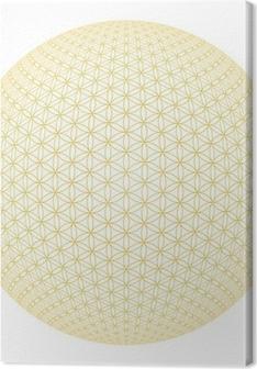 Blume des Lebens Isoliert - Gold Weiß 3D Kugel Canvas Print